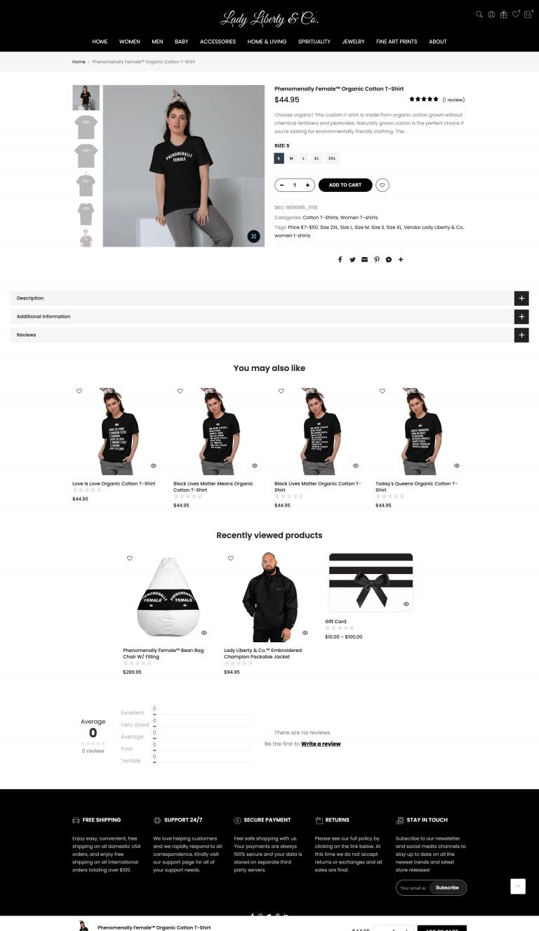 Lady Liberty Shopify e-Commerce Website