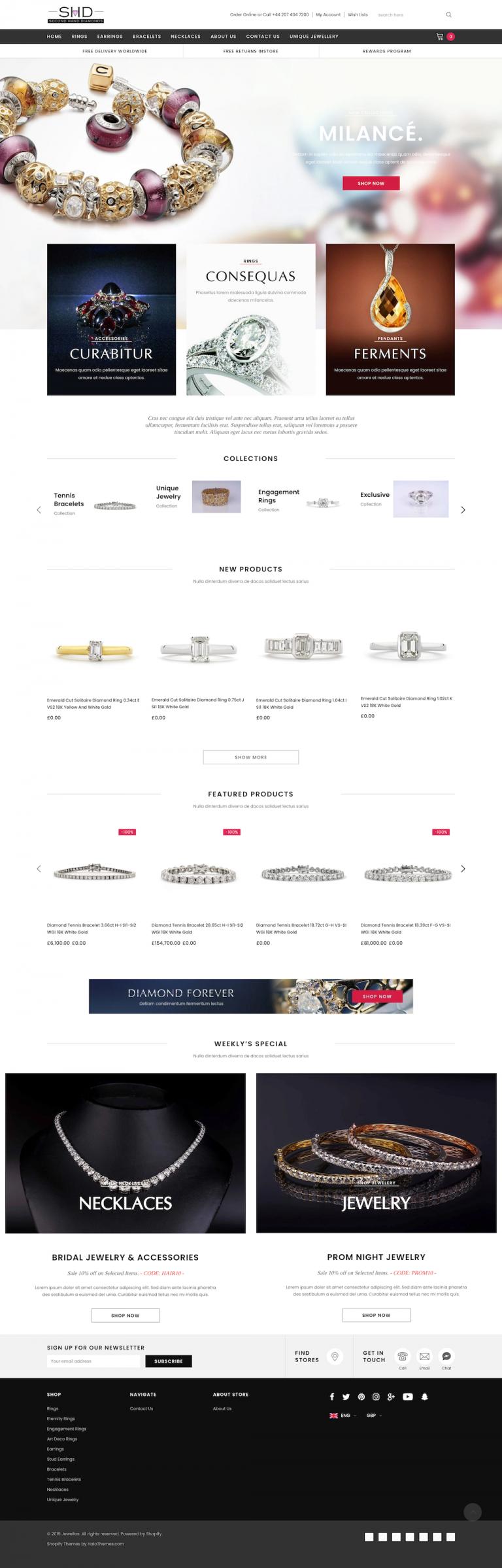 Second Hand Diamond Jewellery e-Commerce Shopify